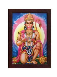 Hanuman in kneeling posture in blue background with halo