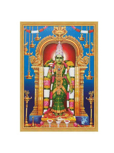 Goddess Meenakshi in blue background with hanging lamps