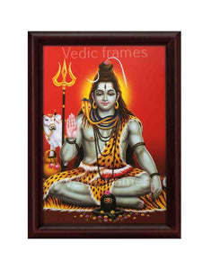 LordShiva with halo in red background