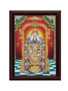 Lord Venkateshwara under arch with deepam and red background