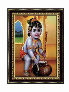 Little Krishna with butter pot in yellow background