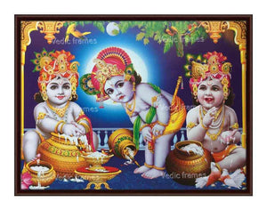 Little Krishna with turban in multiple postures