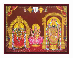 Lakshmi with Padmavathi thayar and Lord Venkateswara with halo in brown background