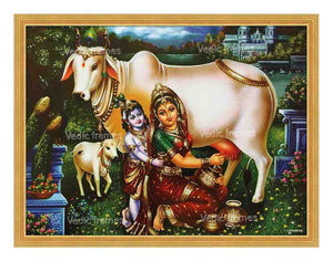 Yashoda milking cow with Little Krishna on her side in lake background