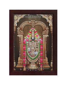 Lord venkateshwara with rose garland brown background