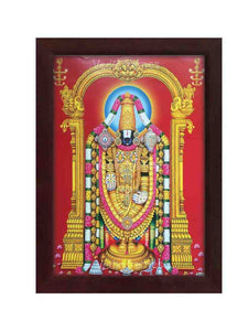 Lord Venkateshwara with red background and hanging deepam