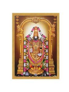 Lord Balaji with yellow background, hanging lamps
