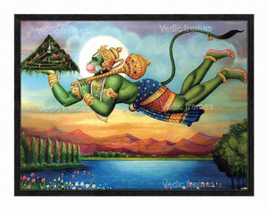 Hanuman flying with Sanjeevani mountain in scenary background