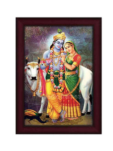 Krishna and Radha holding flute together