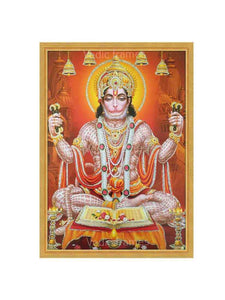 Hanuman meditating in brown background glow sand finish