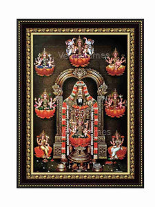 Lakshmi Venkateswara with multicolour garland surrounded by Ashtalakshmi on orange lotus