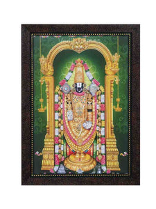 Lord Venkateshwara with green background and deepam