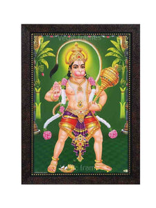 Hanuman holding Gadhai in green background with plantain trees