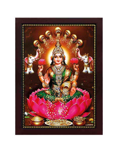 Goddess Lakshmi in a plain brown background with gold shower