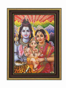 Lord Shiva and Parvathi with little Ganesha in Himalayan background glow sand finish