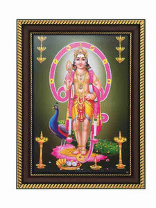 Lord Saravana with Peacock in Om background and hanging deepam