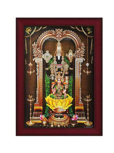 Lakshmi Venkateshwara in thulasi garland and yellow lotus in prabhai