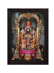Lakshmi Venkateshwara with hanging lamps in grey background