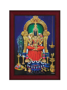 Goddess Kamakshi on blue background under arch