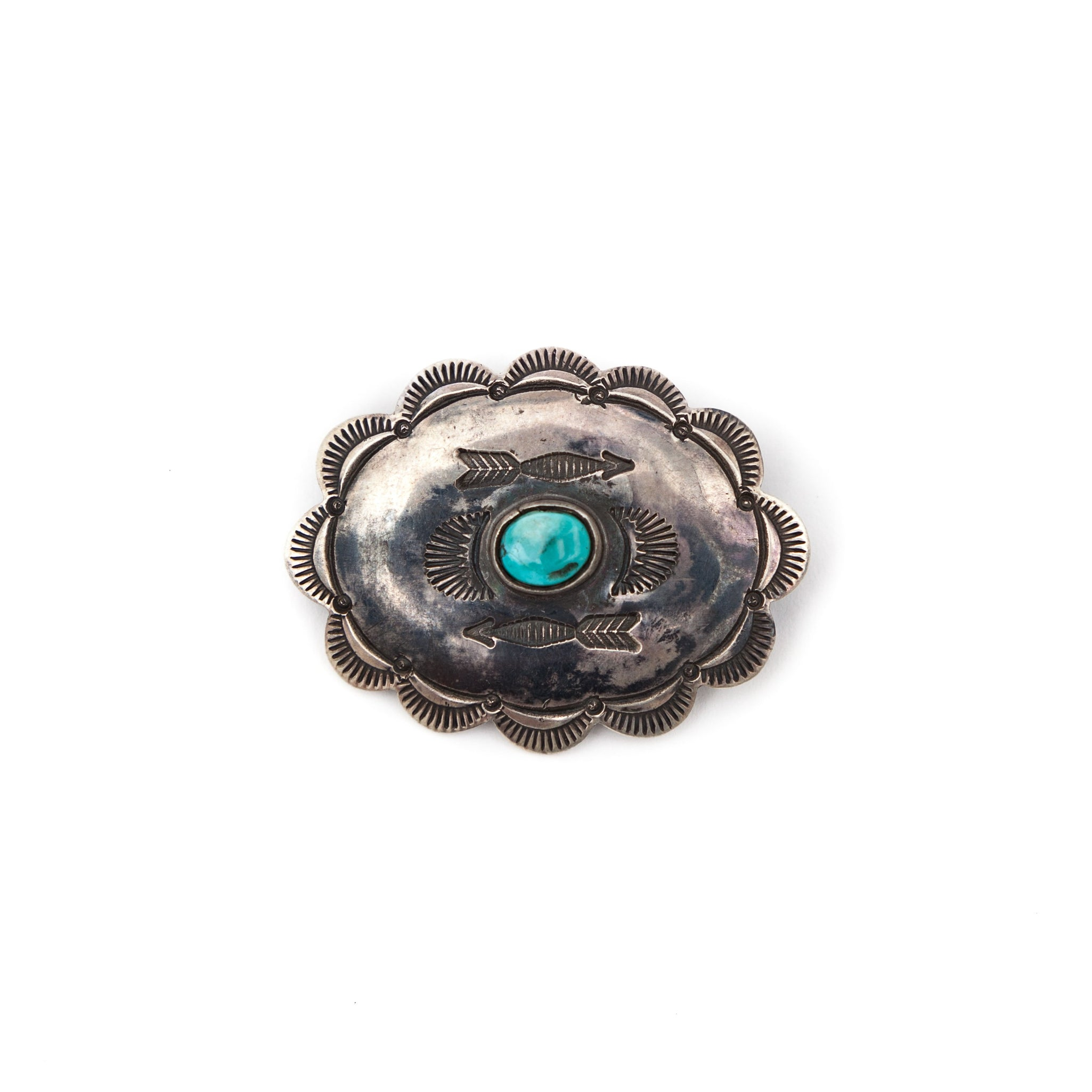 Silver Brooch & Turquoise Stone #2