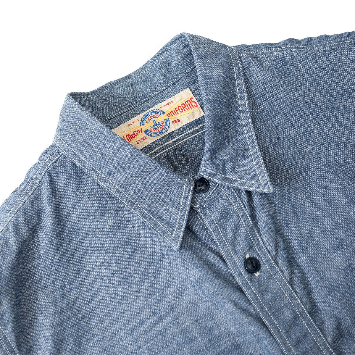 The Real McCoy's U.S.N. Chambray Shirt S/S MS18014-121