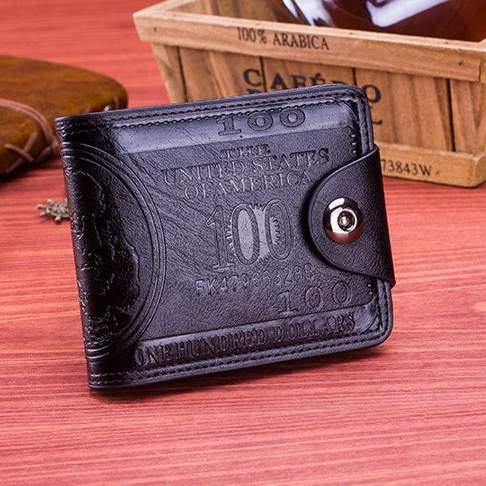 Leather 100 Dollar Pattern Designer Men's Wallet
