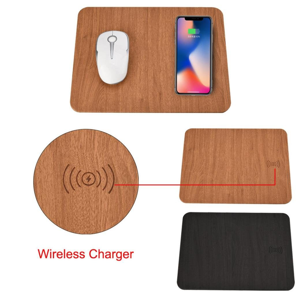 Mobile Phone Qi Wireless Charger Charging Mouse Pad Mat PU Leather for iPhone X/8 Plus Samsung S8 Plus /Note