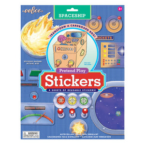 Spaceship Pretend Play Reusable Stickers