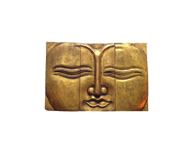 Buddha Tibetan-Style Wall Panel Tryptich - 3 Piece