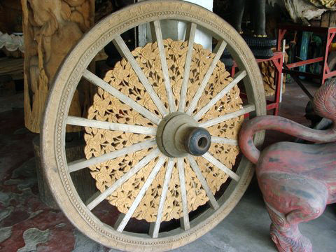 Carved Ox Cart Wheel