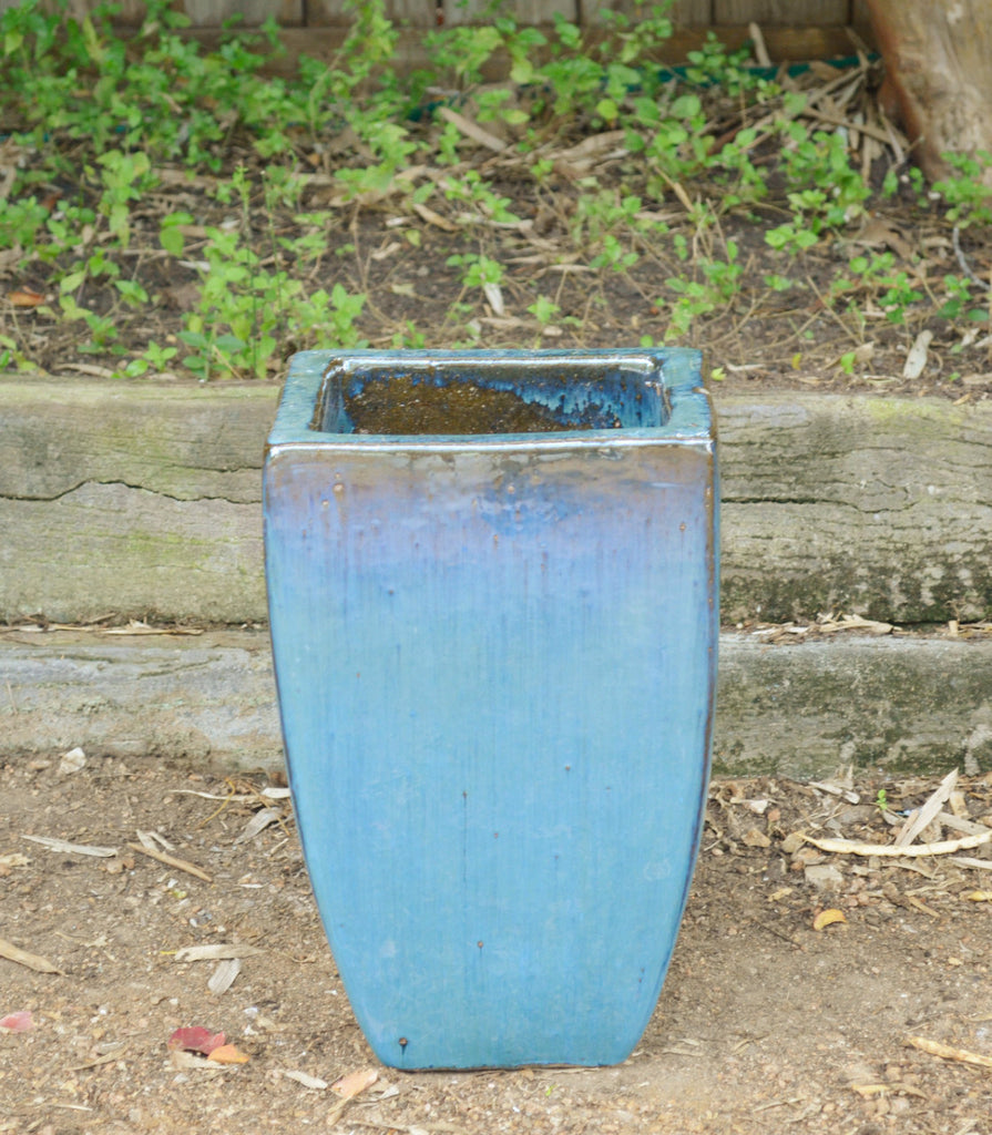 Azure Blue  Tapered Square Planter