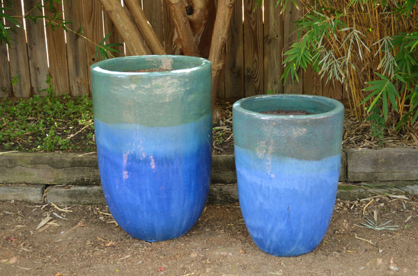 Neopolitan Blue and Green Round Planter