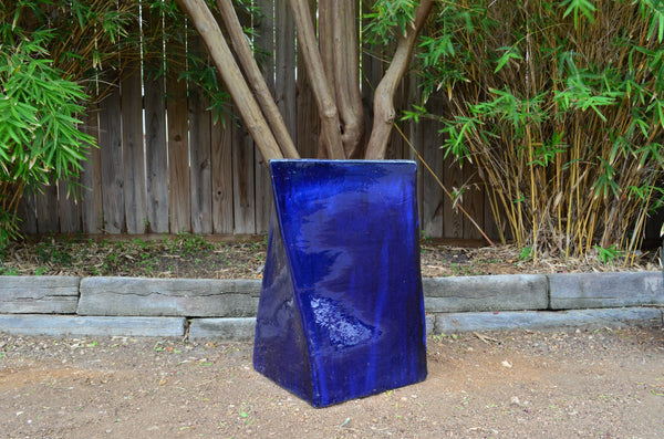 Twist Cube Planter, Cobalt