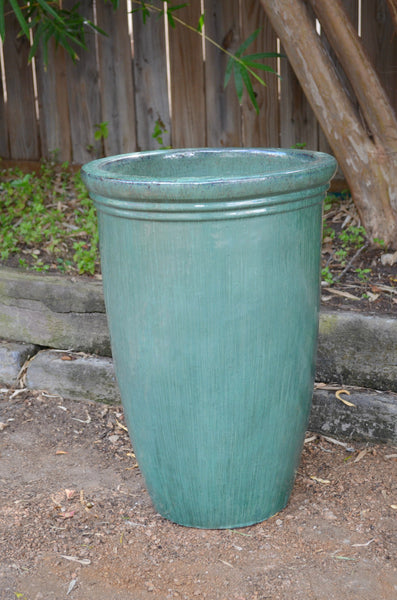 Turquoise Tall Planter Big Grass