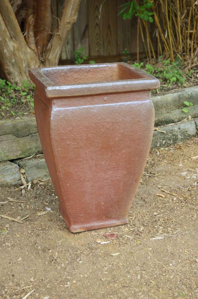 Rustic Tapered Planter with Rim