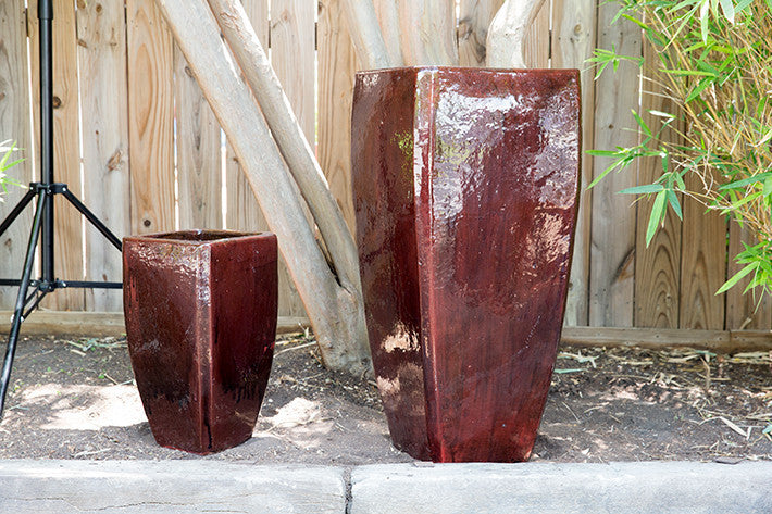 Square Tapered Red Planter