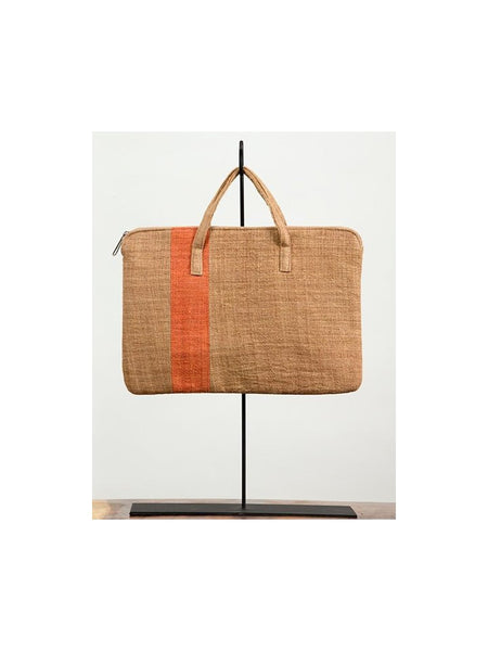 Ochre & Coffee Striped Tablet Bag