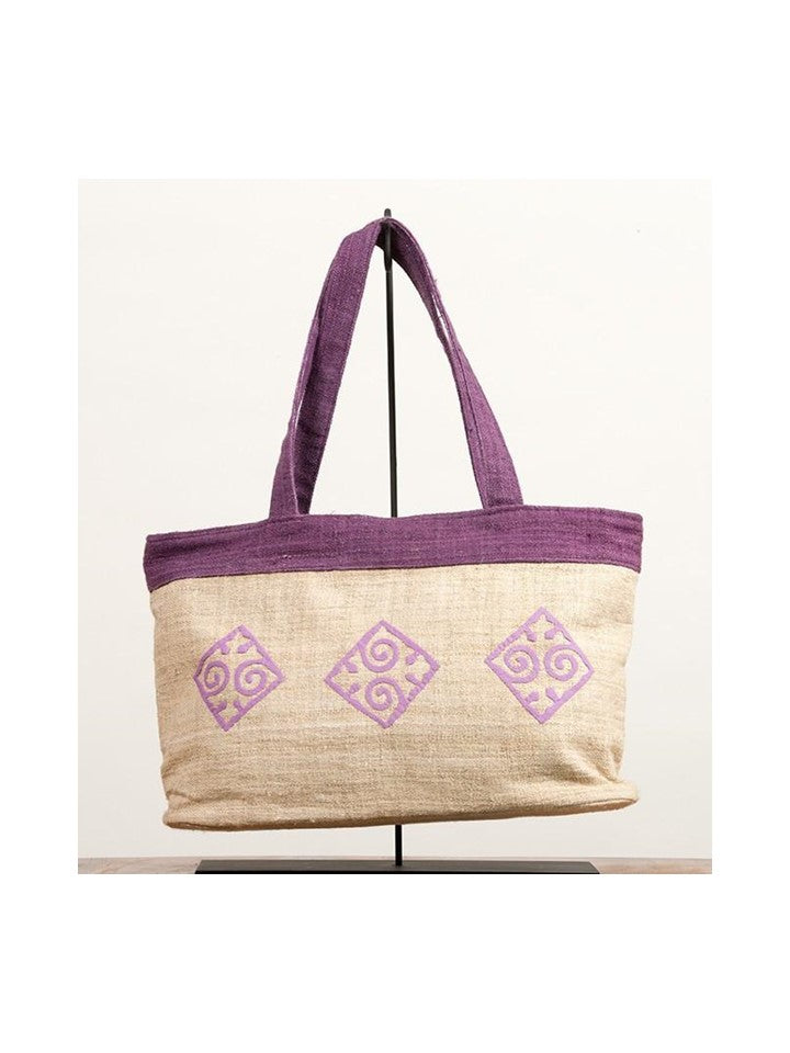 Purple & Cream Diamond Tote Bag