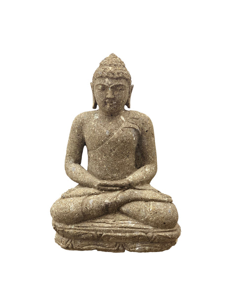 Hand Carved Green Stone Sitting Buddha