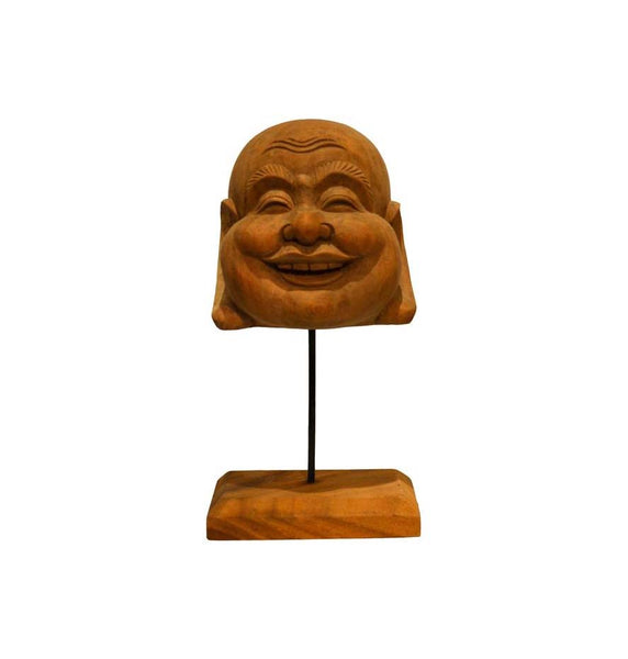 Happy Buddha Head on Stand