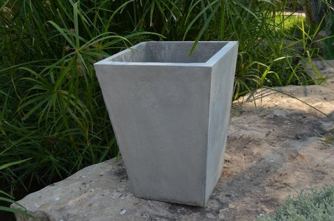 "Cement Square Tapered Planter - 14"" x 20""h"