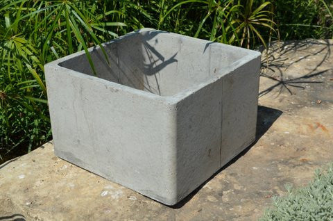 "Cement Square Stackable Planter - 16"" x 10""h"