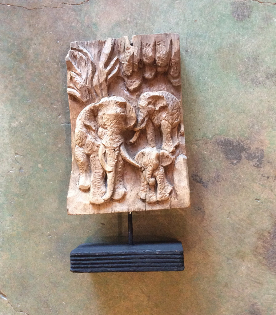 Carved Elephant Panel