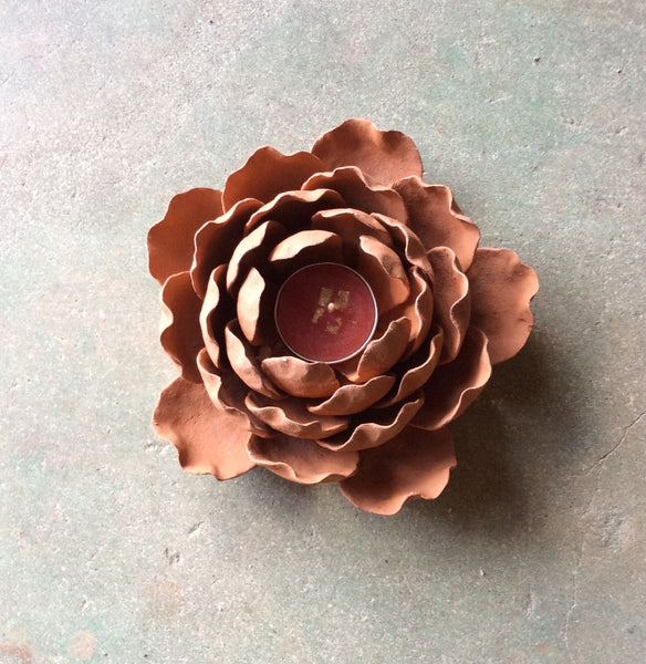 Clay Lotus Candle Holder