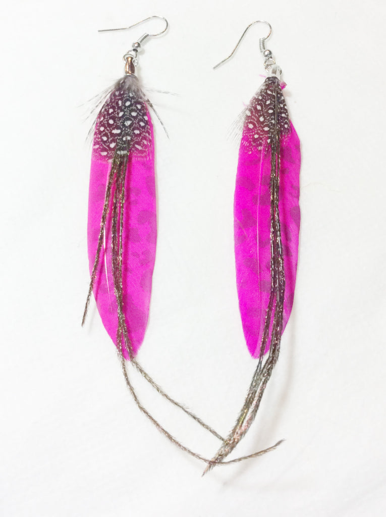 Patterned Feather Dangle Earrings