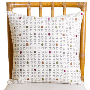 Block Printed and Embroidered Pillow