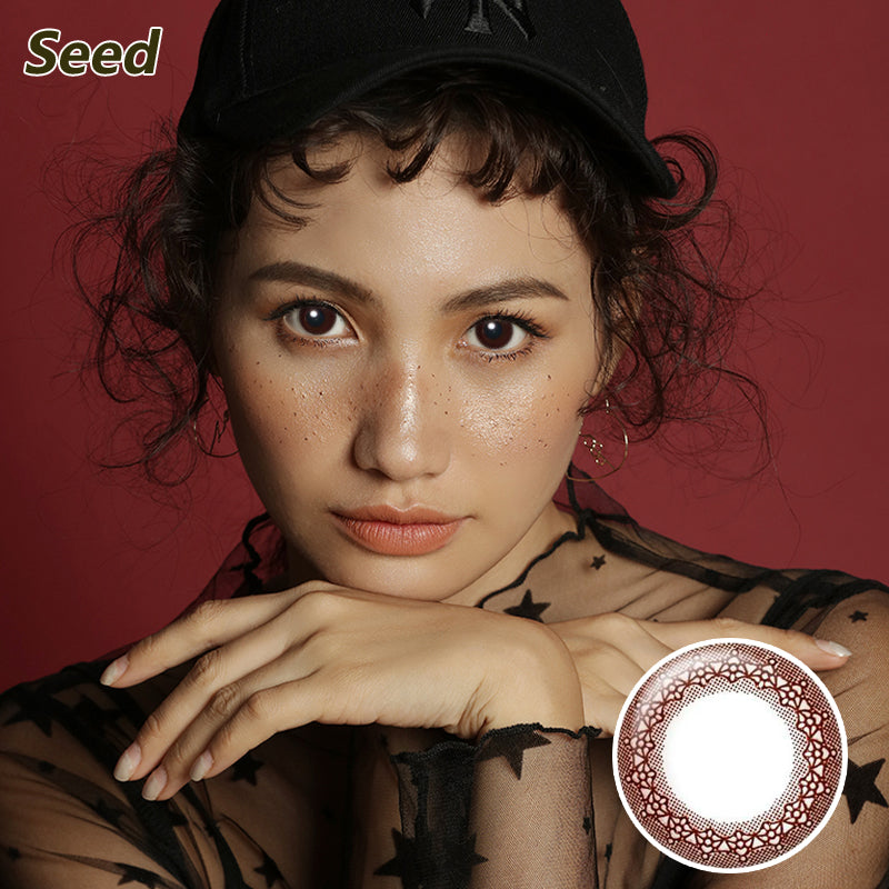 Japan Seed mixed blood size diameter Coffret disposable daily color contact lenses Brown