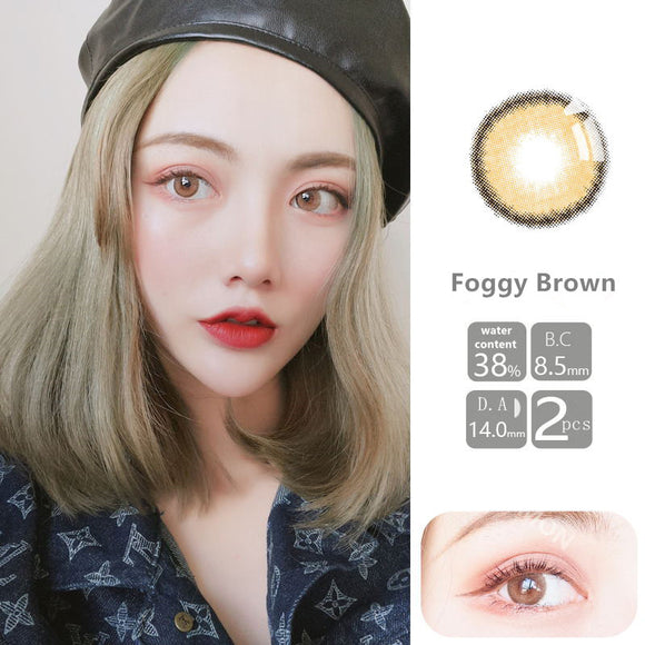 VISSMON yearly Contact Lenses Foggy Brown (2pcs/box)