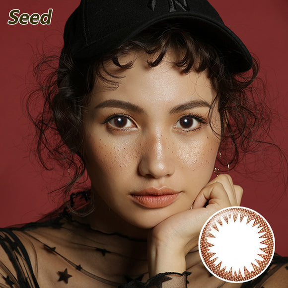 Japan Seed mixed blood size diameter Coffret disposable daily color contact lenses Light Brown
