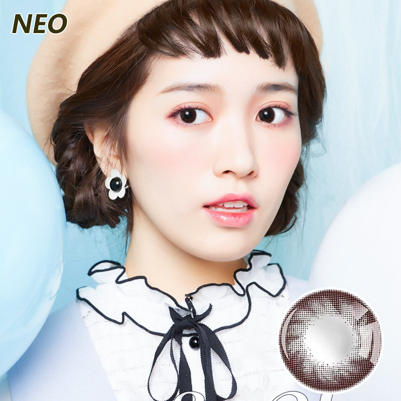 Korea imported Neo Vision mixed blood size diameter small black ring disposable yearly color contact lenses Chocolate Color II